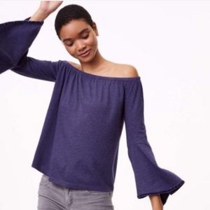 Velvet Trim Off the Shoulder Bell Sleeve Top